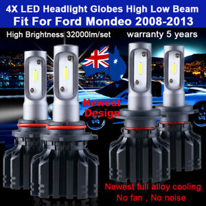 For Ford Mondeo 2011 2012 4x Headlight Globes High Low beam white LED bulbs set