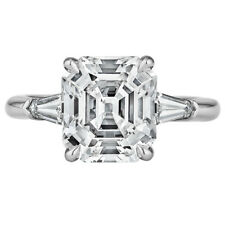 Platinum Asscher Cut 3.80 Carat Diamond Engagement Ring GIA Certified
