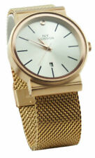 Relojes de pulsera con fecha de metal dorado