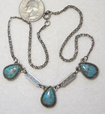 Vtg Blue Faux Turquoise Stone 3-Teardrop Necklace w/Matrix, ST Snail Chain 16.5""