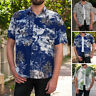 Men's Hawaiian Floral Print Short Sleeve Button Up Shirts Casual Beach Stag Tops
