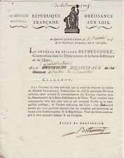 Général Antoine de BETHENCOURT autographe / CHOUANS