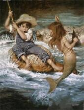 BOY FISHING catch LITTLE MERMAID Children Child fish rod CANVAS ART PRINT