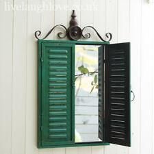 Large Vintage Style Painted Rustic Metal Shutter Mirror - Dark Green