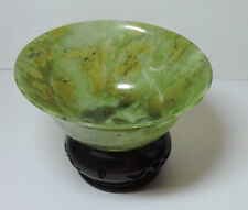 New  NOS Vintage Boxed Set of 2 Green Marble Incense Offering Bowls w/ Base