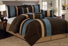 7 Piece Blue Brown Tan Micro Suede Comforter Set Queen Size New