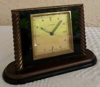 Vtg CYMA Watch Co. Alarm CLOCK Swiss Made Solid Brass 2nd Hand Travel Desk Top