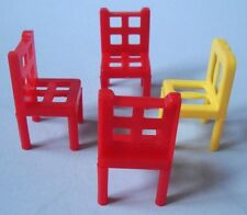 Teeny Vintage Plastic 4 Pc Set Dollhouse Miniature Chairs - Too Tiny for Barbie!