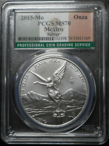 :2015-Mo 1-ONCE MEXICO LIBERTAD WINGED-VICTORY KM#639 PERFECT PCGS MS-70 TOP-POP