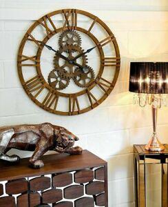 Large Round Wooden Statement Piece Cog Wall Clock 90 cm