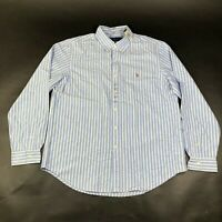 NEW Polo Ralph Lauren Button Down Shirt Mens XL Blue White Striped Cotton Pony