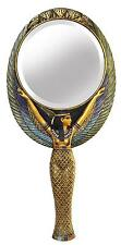 POLY RESIN & BRONZE CAST GOLDEN EGYPTIAN HAND MIRROR MAAT - 24cm(H) x 12cm(W)