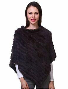 Ferand Ladies Genuine Knitted Rabbit Fur Poncho Cape Shawl, Brown, Size One