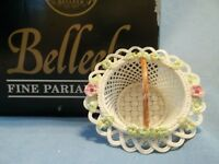 BELLEEK END OF EDITION ENCHANTED ISLE BASKET HAND-MADE, HAND-APPLIED FLOWERS