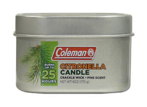 Coleman Citronella Tin 6 OZ Candle - Pine Scent 25 Hours Great For Camping 7714