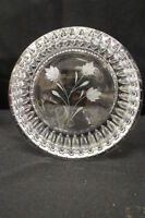 "Cut Lead Glass Crystal 8"" Bowl w/Frosted Flower Etched Detail, Signed by Artist"