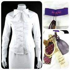 NWT - RIANI romantic white bow tie stretchy cotton fitted blouse - 34/4