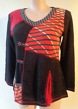 New EVERSUN Black red knit top button trim size 18 NWT long sleeves