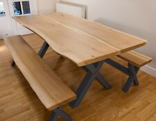 Live Edge Solid Oak Farmhouse Dining Table and Benches with Hardwood Cross Legs