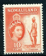 SOMALILAND;  1953 early QEII issue fine Mint hinged value  10c.