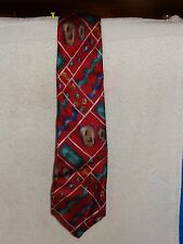 Used Mens Necktie-Hand Made G.C.Attree-All Silk Gum Twill- Red Geometric-England