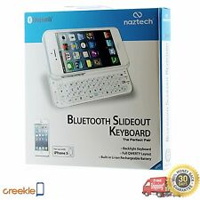 Naztech Ultra-thin Bluetooth 3.0 Slideout QWERTY Keyboard, iPhone 5 5s, White