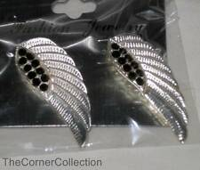 SILVER PLATED ANGEL WING EARRINGS with CRYSTALS