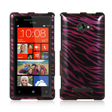 For HTC Windows 8X HARD Protector Case Snap On Phone Cover Plum Zebra