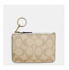 NWT Coach Signature Key Pouch Wallet PVC Light Khaki/Chalk F63923 $65