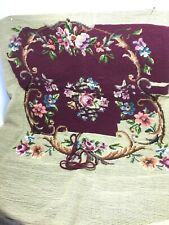 Vintage Preworked Needlepoint Canvas Floral Design for Chair Seat Cover Started