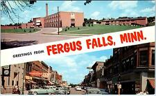 Fergus Falls, Mn Minnesota Lincoln Street Scene-High School c1950s CarsPostcard