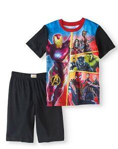 Marvel Infinity War Boys' 2-Piece Poly Pajama Sleep Short Set size small 4/5