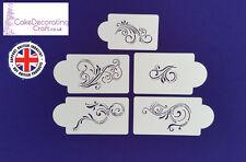 Stencils Cake Cupcake Decorating Craft Airbrush Buttercream| Scrolls x 5
