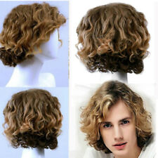 Hot Men Fashion Short Curly Hair Synthetic Handsome Male Cosplay Party Full Wig