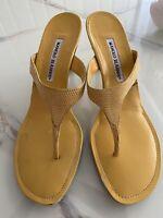 Manolo Blahnik Yellow Leather Kitten Heeled Mules Sandals 39.5, 9.5