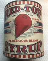 Early Vintage Original 1920s 2Lb RED TOP Brand Syrup Tin Can W Paper Label RARE