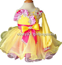 Infant/toddler/baby Yellow Lace Long Sleeve Crystals PageantDress 2T G219-3
