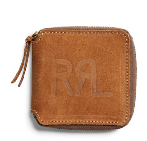 Double Ralph Lauren RRL Mens Roughout Leather Zip Brown Suede USA Ranch Wallet