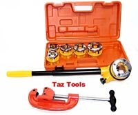 Pipe Threader Ratchet Type with 6 Stock Dies and Pipe Cutter Plumbing Tools H-D