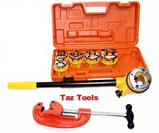 Pipe Threader Ratchet Type with 6 Stock Dies and Pipe Cutter Plumbing Tools Set