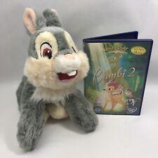 Esclusivo Disney Store Thumper DVD giocattolo morbido Rabbit Bambi 2 Bundle