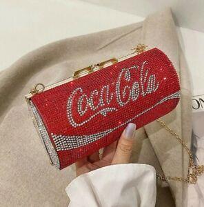 Rhinestone Clutch Bag Unique Coke Drink Gem Set Hand Bags