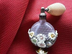 Vintage Glass& Enemal Metal Flowers Perfume Bottle/Atomizer. Made in Taiwan.