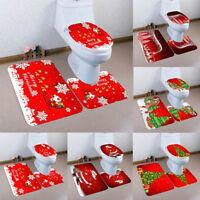 EE_ QA_ EG_ 3PCS Set Christmas Xmas Decor Santa Toilet Seat & Cover & Rug Bathro