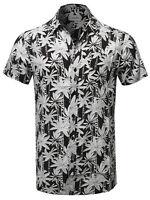 FashionOutfit Men's Casual Hawaiian Button Down Chest Pocket Short Sleeves Shirt