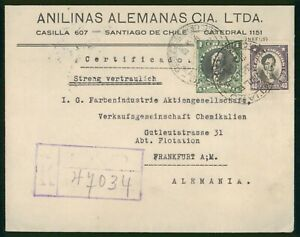 MayfairStamps Chile Santiago Registered to Frankfurt Germany Cover wwp62299