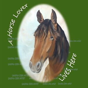 HORSE LOVER NEW HARDBOARD PLAQUE TILE DESIGN SANDRA COEN ART OIL PAINTING PRINT
