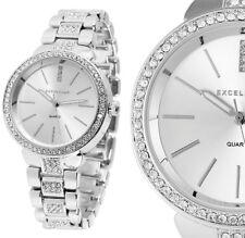 elegante Damen Armbanduhr Silber Crystalbesatz Metallarmband Excellanc 1800016