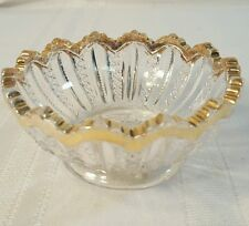Glass Footed Jam Candy Bowl with gold rim ~ Scalloped Saw Tooth Rim ~ 1015