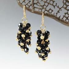 Sparkling Beaded Black Crystals Cluster Drop Earrings 14K Gold Plated Hook